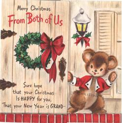 MERRY CHRISTMAS FROM BOTH OF US personised bear knocks on wooden door with Xmas wreath