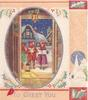 TO GREET YOU children carol at open door, snowy village behind, silvered ovular frame with holly, church on panel right
