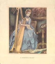 A CHRISTMAS MELODY  woman in fancy blue dress plays harp