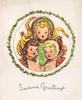 SEASON'S GREETINGS circular die-cut inset with 3 children singing, framed by circle of holly
