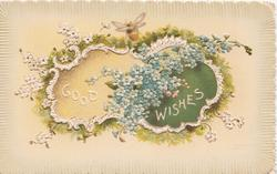 GOOD WISHES in white on cream & white plaques surrounded by blue & white forget-me-nots