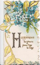 HAPPINESS(Hilluminated & glittered)  below forget-me-nots, yellow leaves