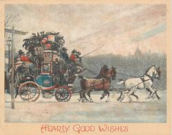 HEARTY GOOD WISHES loaded stagecoach drives right in snow, hazy cityscape in background