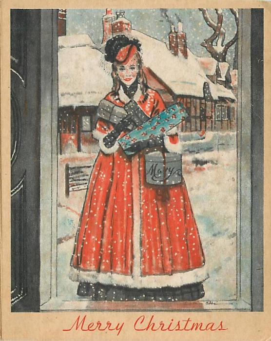 MERRY CHRISTMAS woman in red dress stands facing front in doorway holding parcels, snow & buildings behind