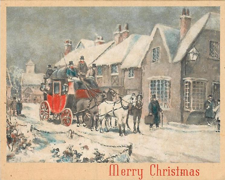 MERRY CHRISTMAS loaded stagecoach stopped at large inn, man on corner holds suitcase, snow