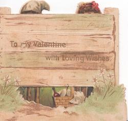 TO MY VALENTINE WITH LOVING WISHES in gilt on fence, low perforation to show picnic basket, Dutch children