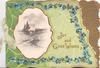 JOY AND GOOD WISHES in gilt, forget-me-nots  gilt  bordered rural inset, green background,  gilt design right