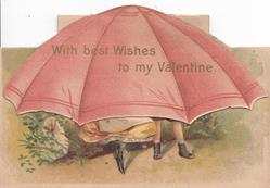 WITH BEST WISHES TO MY VALENTINE in gilt on pink umbrella, boy stands & girl in old style dress sits on log