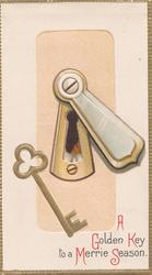 A GOLDEN KEY TO A MERRIE SEASON(letters illuminated) lower right, gilt key, lock with perforated key-hole