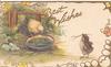 BEST WISHES in gilt above 2 chicks & water-bowl, fence & leaves left, gilt marginal design