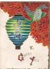TO GREET YOU(letters illuminated) in gilt below green stylized bird & blue/green Japanese lantern, red design upper right