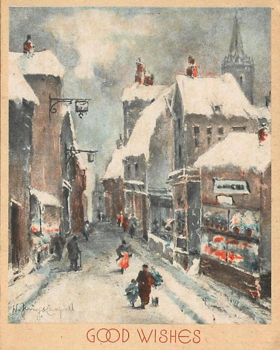 GOOD WISHES village street, shops, pedestrians