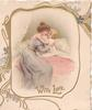 WITH LOVE in gilt, mother in liilac dress hugs child in bed, image framed with gilt design