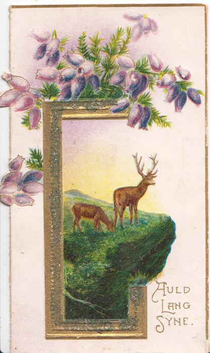 AULD LANG SYNE in gilt lower right, stag & doe on grassy rocky outcrop in gilt frame under purple heather
