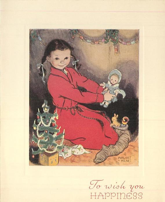 TO WISH YOU HAPPINESS girl in red robe kneals, facing right & looking forward, holds doll