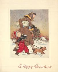 A HAPPY CHRISTMAS mother & child walk right in snow, with dog, carrying parcels & holly