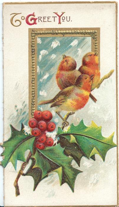 TO GREET YOU(T,G,&Y illuminated) above gilt bordered window, 3 robins perch on holly