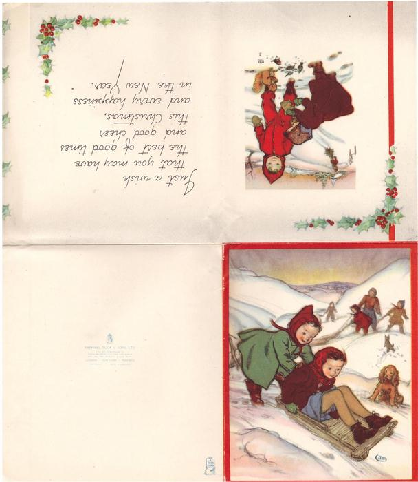 no front title, children sled in much snow, dog looks on, red borders, panel of holly right