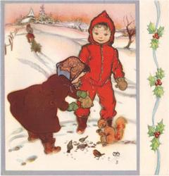 no front title, children feed squirrel & birds in snow, blue borders, panel of holly right