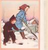 no front title, girl & boy face right, shovelling snow, robin right, cottage in background