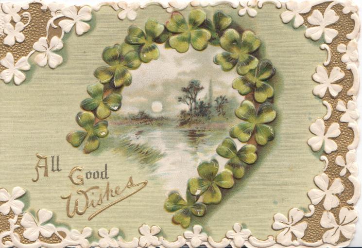 WITH ALL GOOD WISHES in gilt, framed by gilt horseshoe, stylised white leaf & gilt marginal design