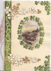 no front title, rural oval inset  framed by clover, stylised leaf marginal design, pale yellow background