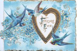 FRIENDS EVER(F&E illuminated) on white gilt edged heart shaped white plaque, 3 blue-birds-of-happiness fly, forget me nots & blue background