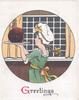 GREETINGS (Gilluminated) woman in green dress & white cook's hat carrys Xmas pudding left, black window behind
