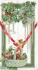 GREETINGS in gilt, berried holly above & in basket below, printed red ribon tied in bow. robin