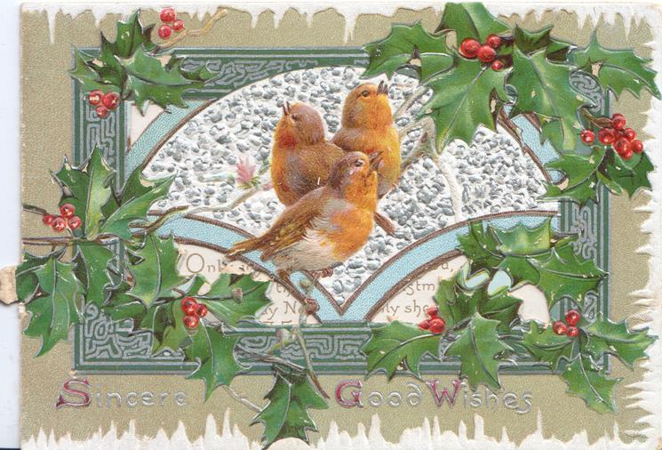 SINCERE GOOD WISHES in gilt, much berried holly around 3 robins perched centrally in front of silver margined perforated window, green & white marginal design