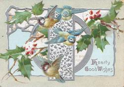 HEARTY GOOD WISHES in gilt, snowy holly around 4 blue-tits( blue-birds-of-happiness) over complex perforated silver design