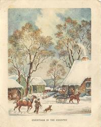 CHRISTMAS IN THE COUNTRY snowy farmhouse scene with trees, 2 horses front, one pulls cart