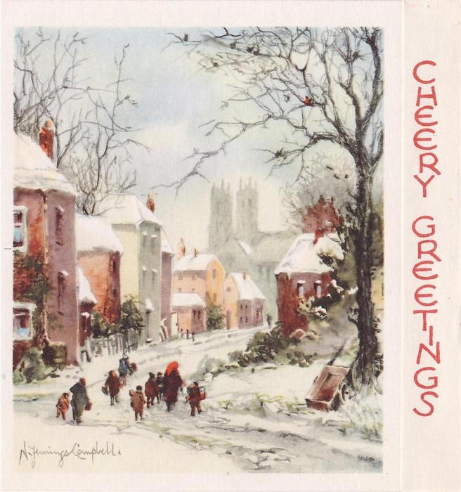 CHEERY GREETINGS on panel, group of people walk on snowy village road, buildings left, church in background