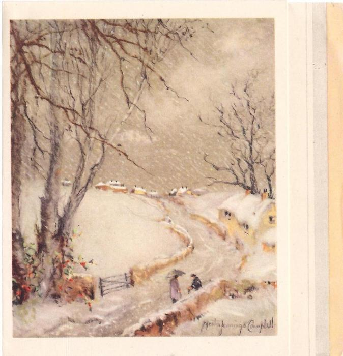 no front title, couple stopped on bend in road, prominent trees left, snow falls, cottages