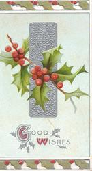 GOOD WISHes(G & W illuminated) in silver below berried holly in front of silver design, perforated top & bottom design