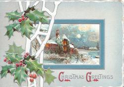 CHRISTMAS GREETINGS (C & G illuminated) berried holly  & white design left of blue framed snowy rural inset, lit house behind gate, pale blue background
