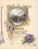 HAPPINESS BE YOURS FROM DAY TO DAY(H & D illuminated), gilt design round circular inset of cattle, bunch of violets lower right, printed purple bell-pulll left