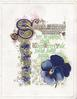 SWEET MEMORY WEAVES HER BRIGHTEST CHAIN WHEN MERRY YULE HOLDS SWAY AGAIN(illuminated), purple pansies below & in complex design