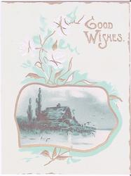GOOD WISHES winter house scene in gilt inset, stylised leaves surround it