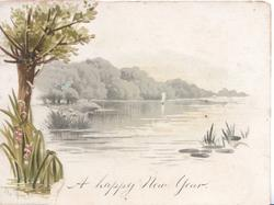 THE RIVER below on front , A HAPPY NEW YEAR on back flap lilies-of-the-valley at base of tree, watery rural scene