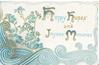 HAPPY HOPES AND JOYOUS MEMORIES(H,H,J & M illuminated) in blue, forget-me-nots left, blue design below