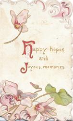 HAPPY HOPES AND JOYOUS MEMORIES(H & J illuminated), pink cyclamen above & below