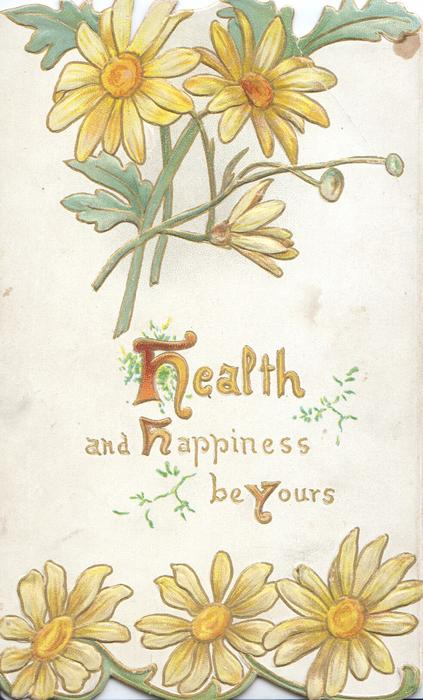 HEALTH AND HAPPINESS BE YOURS(H's & Y illuminated), yellow daisies above & below