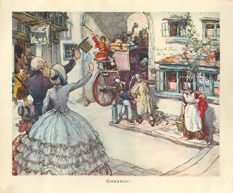 CHEERIO! townsfolk wave to exiting stagecoach, address on building reads PICKWICK PLACE NO. 4