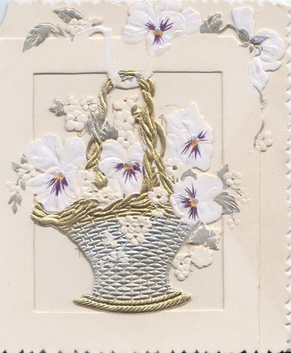 no front title, white & purple pansies in gilt wicker basket set in perforated window, more pansies above