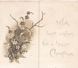 WITH BEST WISHES FOR A HAPPY CHRISTMAS on right flap, stylised wild roses round watery inset on left flap