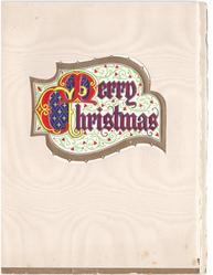MERRY CHRISTMAS within irregularly shaped perforation, gilt border & filigree background, illuminated  'M' & 'C'