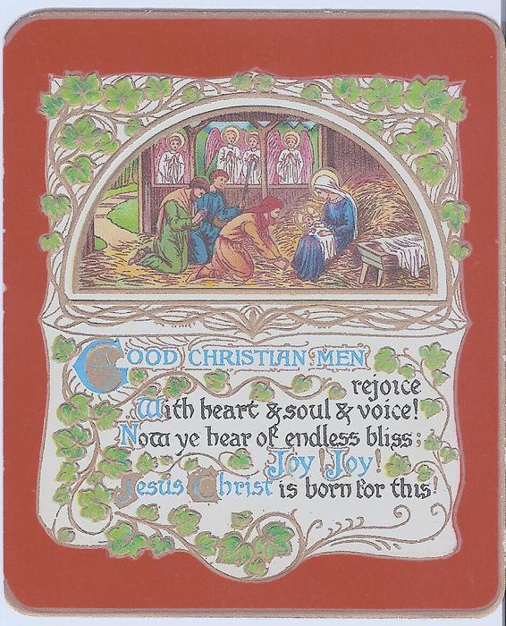 GOOD CHRISTIAN MEN REJOICE ... BORN FOR THIS nativity scene