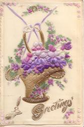 on celluloid front GREETINGS & quill pen & ink below stylised purple violets & heather in wicker basket