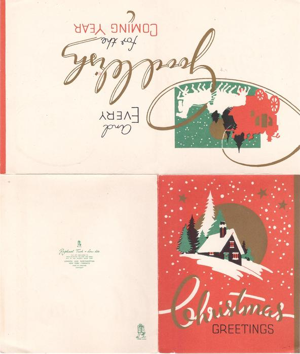 CHRISTMAS GREETINGS below cottage & trees, gilt circle behind, red background